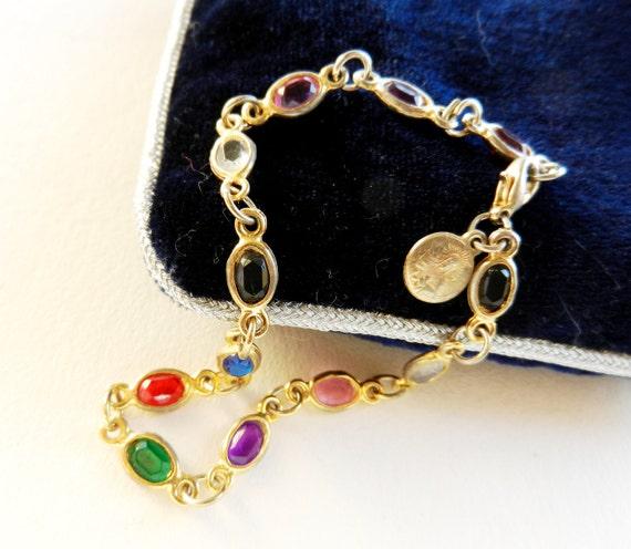 ROMANTIC 1960ヴィンテージブレスレット - クリスタルオーバル、小さな宗教金メダル-art.704と -