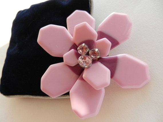 Vintage Brooch 1960 - Splendid  large flower  with crystals -art.618-