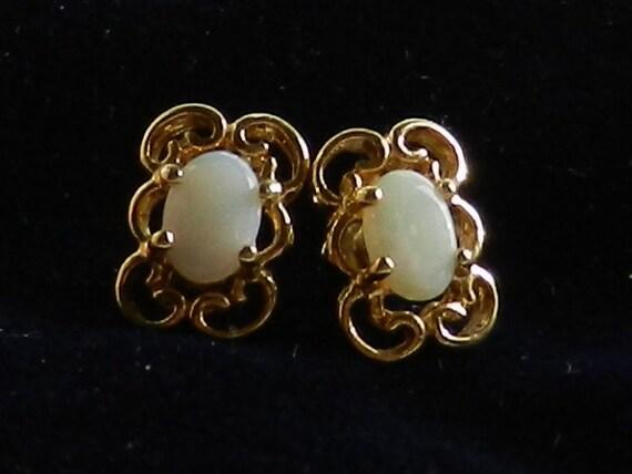 Wedding Promotion -Opal 1950 vintage - little wonders of Vintage Italian - earrings ideal for Brides-Art.323 -