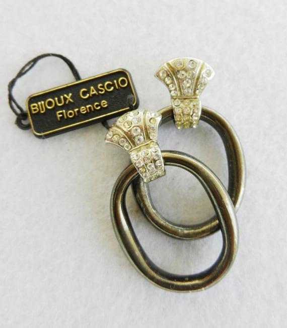 Vintage Italian 1970 - CASCIO  signed, Italian fashion, silver and crystal -exclusive  Vintage earrings -art.949-