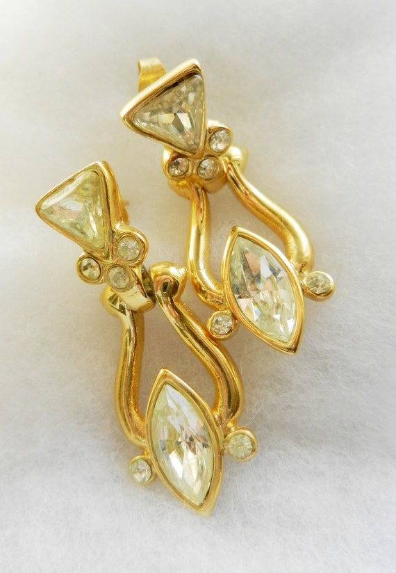 Drop earrings, vintage 1960 -  gold and crystals -elegant and fashionable -Art.921-