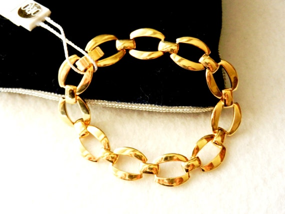 Elegant Bracelet Vintage 1960 - in golden brass, polished and perfect - Made in Italy-Art.913-