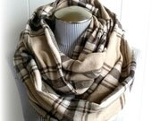 Brown Plaid Infinity Scarf, Unisex Beige, Dark Brown and Cream fashion loop Fall Accessory