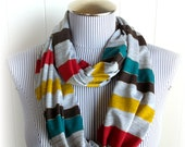 Last One, Jersey Knit Stripes Print Infinity Scarf, Casual Loop Cowl Scarf