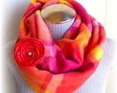 Sherbet Fleece Infinity Scarf and Salmon Pink Flower pin Gift Set