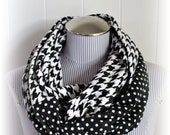 Houndstooth and Polka Dot Infinity Scarf in Black and White Flannel