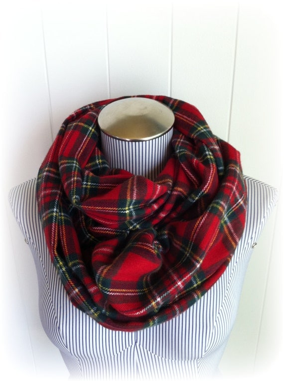 Christmas Scarf Plaid Infinity Scarf Tartan Red And Green