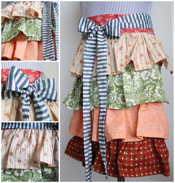 Sassy Ruffled Apron, Half Apron with Tie in Autumn Colors