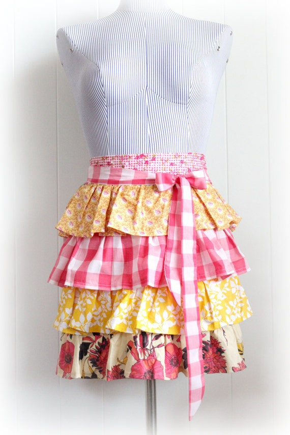 Sassy Ruffled Apron, Raspberry Pink and Yellow Half Apron with Tie in Sherbet Colors