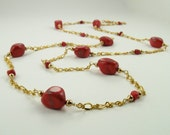 SALE CLEARANCE Gold and Red Howlite long necklace