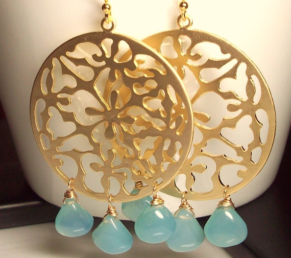Blue Chalcedony  Gold Chandelier Earrings