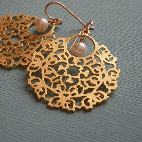 Pearl and Filigree Gold Earrings......SALE 10% OFF at Checkout.....SALE ending soon