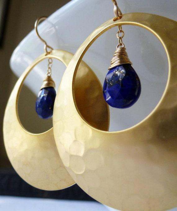 Lapis Gold Earrings -  Hammered Teardrop Disc Earrings......LAST ONE