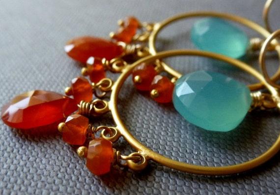 Aqua Blue Chalcedony and Carnelian Chandelier Earrings