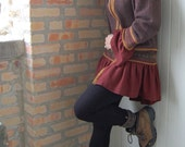 Womens zippered cardigan in recycled, felted knits, size x-large, cocoa, rust, gold and green