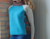 Ella pullover sweater for women made from recycled knits, felted wool in turquoise, cocoa and jewel tones, size small