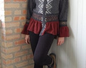 Womens zippered cardigan in recycled, felted knits of gray fair isle, brown and rust, size small medium