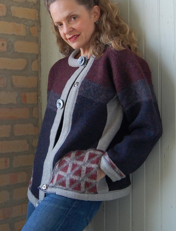 Monks Cardi, womens sweater, small xsmall cardigan, asymmetrical, wool, lambs wool, navy, burgundy, gray