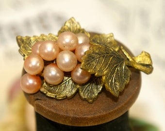Antique Pearl Grape Leaf Pin Reuse