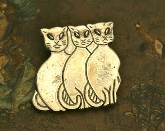 Wise Cats - Vintage 3 Cat Sterling Pin . Finding . As-Is