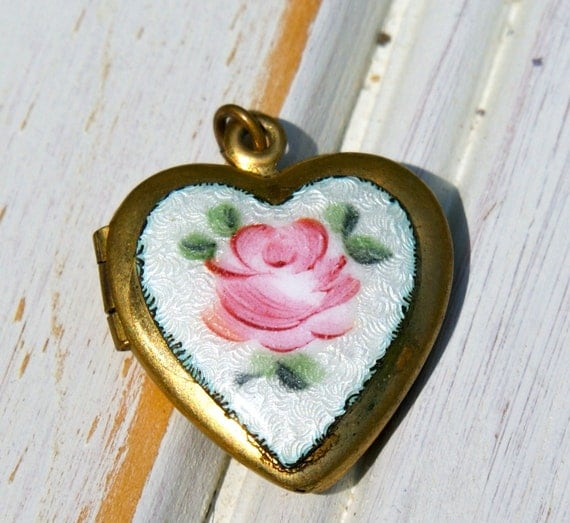 Vintage Enamel Locket . Heart Enamel Charm .