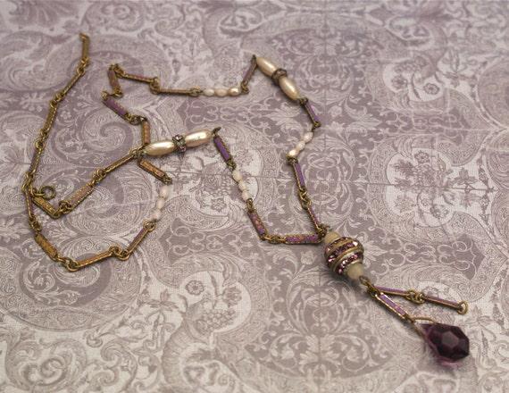 Art Deco Drop Necklace Glass Rhinestone Enamel .