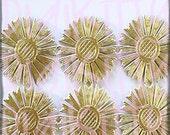 Gold Dresden Sun Halos set of 8 Gold Trim Foil Diecuts German Scrap