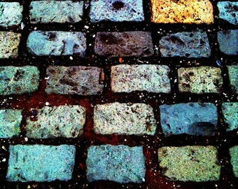 Abstract Coloured City Cobblestones - Square Format Fine Art Photography - Gallery Quality Artwork in Various Sizes and Mounting Options