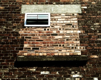 Modern City, Urban Decay, Bricked Up Window - Signed Limited Edition Square Fine Art Photo Print - Various Size and Finish Options Available
