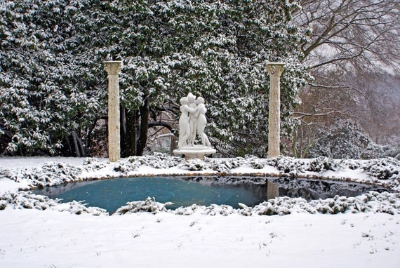 "sisters winter cold statues snow white blue gray grey - ""The Three Graces"" 8x10 photograph"