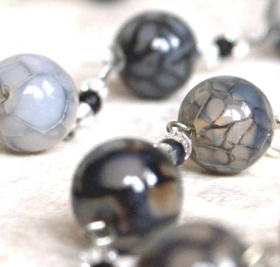 """Grey gray agate crackle texture black and white crystal Necklace, Earring, and Bracelet Set - """"Think Outside The Lines"""""""