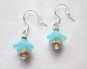 Earrings Blue Flower Dangle Beige Flower Sterling Silver French Hook