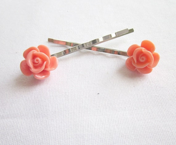 Flower Bobby Pins  Peach Rose  Set of 2 Silver Bobby Pins, 50% OFF, Cyber Monday