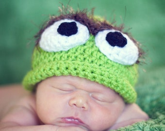 Oscar the grouch hat ALL sizes Newborn to Adult