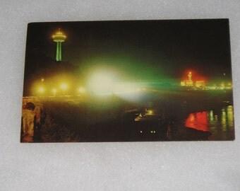 Unused Picture Postcard Niagra Parkway At Night Ontario Canada