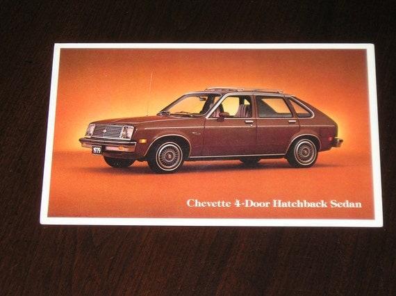 Unused Picture Postcard 1979 Chevette 4-Door hatchback Sedan Chevrolet GM