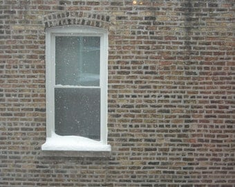 Chicago Photo, Chicago Photography print, winter, snowy white apartment window, snow, city, brown, white, bricks, vintage home art, holiday
