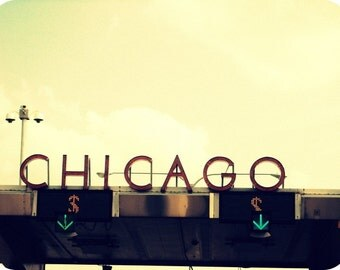 Chicago Photography, mid-century vintage sign photo, Chicago Art, Chicago Skyway, architecture photo, travel art, buttercup, Art Deco, decor