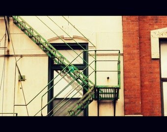 Chicago Photography, fire escape photo, architecture, apartment window, brick, patina, cream, rust, green, urban, industrial, modern