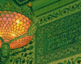 Chicago Photo print, Chicago Art, Chicago Cultural Center photography, Tiffany lamp, Chicago Architecture, green, coral, Metallic Print