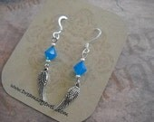 Blue Angel Wing Earrings
