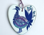 Heart-shaped Bird Wall Plaque by Royal Copenhagen