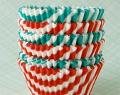 Christmas Mix Cupcake Liners - Red and Green Barber Stripe (60)