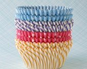 Cupcake Liners - Pastel Mix Baking Cups - Yellow, Pink, Purple and Light Blue - Polka Dot and Stripes (60)