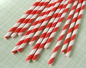 Candy Apple Red Striped Paper Straws with DIY Flags (100)