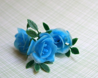 SALE: Blue Rose Cupcake Toppers (12)