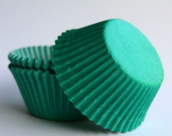 Green Cupcake Liners, Solid Green Cupcake Liners, Green Paper Cupcake Liners, Green Baking Cups (50)