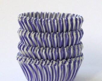 MINI Purple Stripe Cupcake Liners, Mini Stripe Cupcake Liners, Lavender Stripe Mini Liners, Purple Cupcake Liners (60)