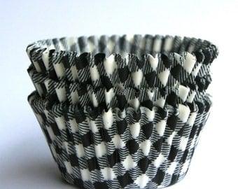 Black Gingham Cupcake Liners, Paper Cupcake Liners, Black Plaid Cupcake Liners (50 count)