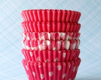 MINI Cupcake Liners - Pink Mix - Solid, Gingham and Polka Dot Baking Cups (60)